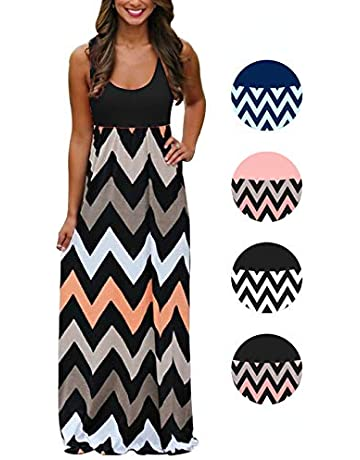 a719a26071167 Womens Tank Top Long Maxi Dresses Summer Boho Empire Chevron Tank Top Casual  Beach Dresses