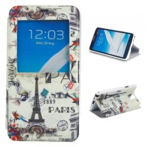 Simplicity Plastic + PU Leather Protective Case with Flower Bird and Iron Tower Pattern for Samsung Note3