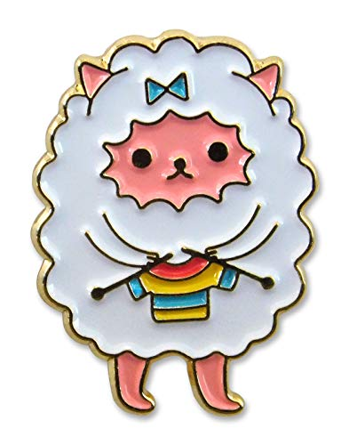 Backyard Art Undercover Kitty Enamel Lapel Pin - Knitting Kitty Dressed as a Sheep - Accessory for Knitters and Crocheters Project Bags