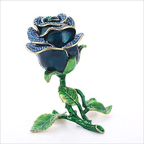 - Worila Rose Rhinestones Jewelry Holder Case Hand Painted Trinket Flower Figurine Jewelry Holder Decorative Luxury Rose Jewelry Box (Blue)