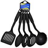 New Plastic Kitchen Utensils 5 Piece Set Spatula Ladel Strainer Serving Spoon