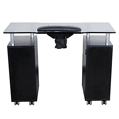 Glass Glow Salon (Black) Manicure Nail Table for Spa and Salon Furniture
