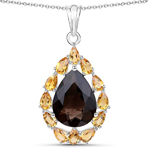 Bonyak Jewelry Genuine Pears Smoky Quartz and Citrine Pendant in Sterling Silver