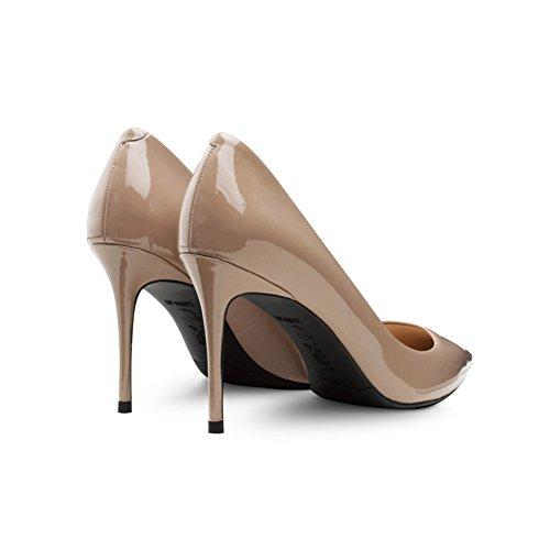 Tamaño Boca EU39 Cara Mujer Color WYYY De Brillante Tacones UK6 8 La con Poco 5 Carne Cm Apuntado De Zapatos Bien Profunda Casuales Zapatos IxBqp8B1