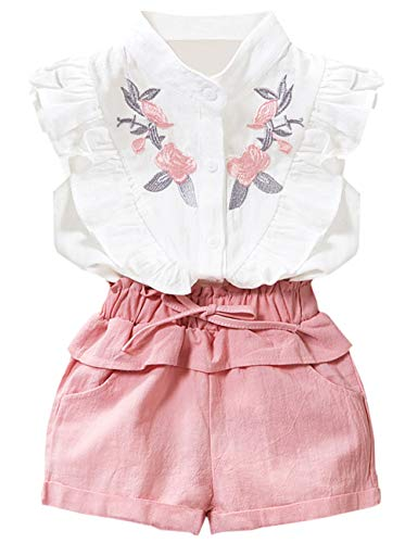 Toddler Girl Clothes Ruffle Floral Embroidery Shirt and Shorts Set 4-5 T -