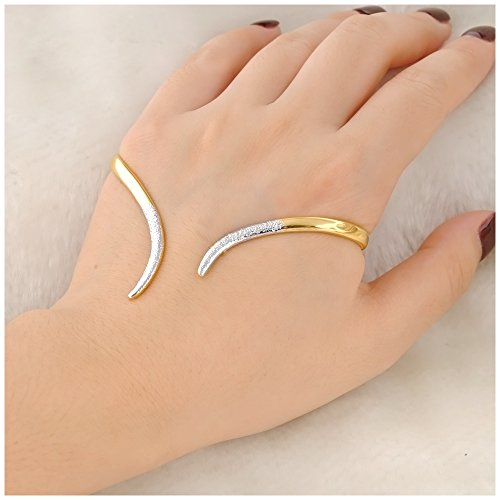 Price comparison product image Mytys Palm Cuff Hand Bracelet 18k Yellow Gold Plated Alloy Stylish Bangle Bracelet