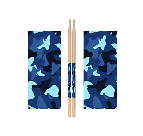 Blue Camo Drum Stick Wraps Drum Percussion Stick Wraps Drum Stick Tape for Drum Sets Starter Kit [Premium Waterproof Vinyl]
