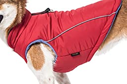 Gooby Cold Weather Fleece Lined Sports Dog Vest with Reflective Lining, Medium, Red