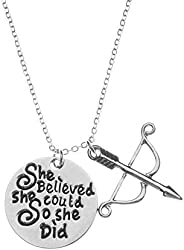Sportybella Archery Charm Necklace - Archery She Believed She Could So She Did Jewelry, for Women, Teens and G