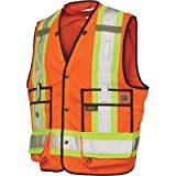 Work King Men's Hi-Vis Safety Surveyor Vest, Fluorescent Orange, 3XL