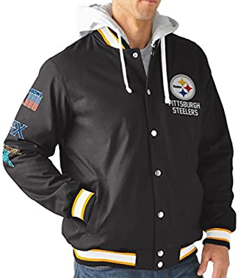 huge discount c7d8b f980b G-III Sports Pittsburgh Steelers Men's Long Sleeve Glory Hooded Varsity  Jacket