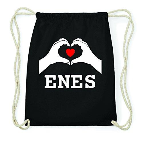 JOllify ENES Hipster Turnbeutel Tasche Rucksack aus Baumwolle - Farbe: schwarz Design: Hände Herz doVwn