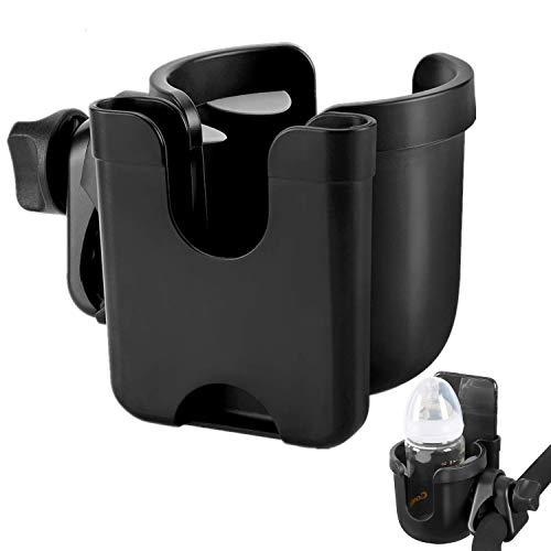 Portavasos para Cochecito, Sostenedor de Botella Universal 2 en 1 con Soporte para Organizador de Telefono Jaula para Botellas de Agua para Bicicletas, Cochecito, Silla de Ruedas, Andador