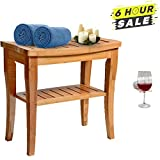 good looking spa patio design ideas Bamboo Shower Bench Seat Wooden Spa Bath Deluxe Organizer Stool With Storage Shelf For Seating Chair, Waterproof Perfect For Indoor Or Outdoor - Plus Free Value Gift Including - One Year Warranty.