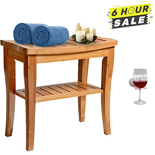 Bamboo Shower Bench Seat Wooden Spa Bath Deluxe Organizer Stool With Storage Shelf For Seating Chair, Waterproof Perfect For Indoor Or Outdoor - Plus Free Value Gift Including - One Year Warranty.