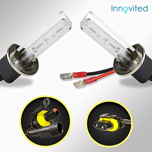 Innovited HID Xenon H1 6000K Replacement Bulbs (1 Pair Diamond White) - 2 Year Warranty