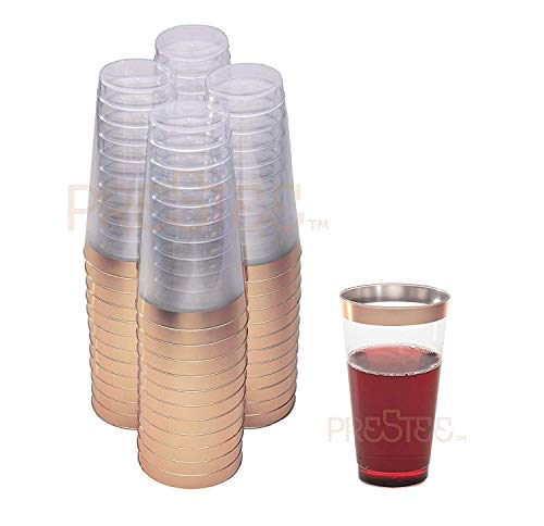 Nice Rose - Rose Gold Plastic Cups | 16 oz. 50 Pack | Hard Clear Plastic Cups | Disposable Party Cups | Fancy Wedding Tumblers | Nice Rose Gold Rim Plastic Cups | Elegant Decoration Cups | Plastic Tumblers Bulk
