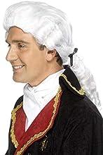 Smiffys-42096 Miffy Peluca de Tribunal, con Lazo Negro y tirabuzones, Color Blanco, Tamaño único (Smiffy'S 42096)