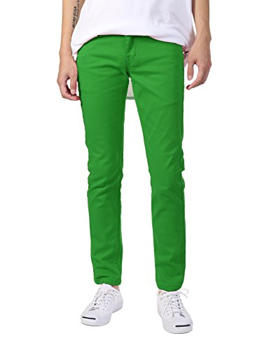 (JD Apparel Men's Basic Casual Colored Skinny Fit Twill Pants 32Wx30L Kelly)
