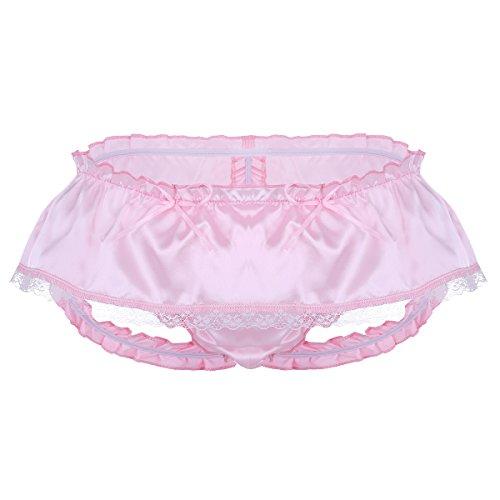Alvivi Mens Satin Ruffled Panties Mini Skirted Sissy Floral Lace Jockstrap Underwear