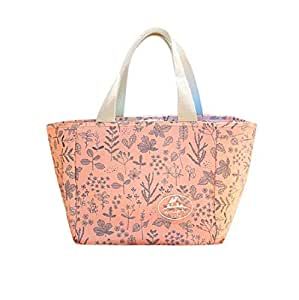 VWH Pink Lunch Bag Oxford Cloth Insulated Cooler Tote Bag Travel Convenient Lunch Box Portable Carry Tote for Adults Kids