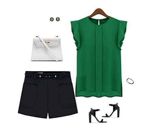 en mousseline chemisier chemises ❤️Femmes lâche Casual manches Vert Tefamore de soie Tulip courte Z1qfanxwq