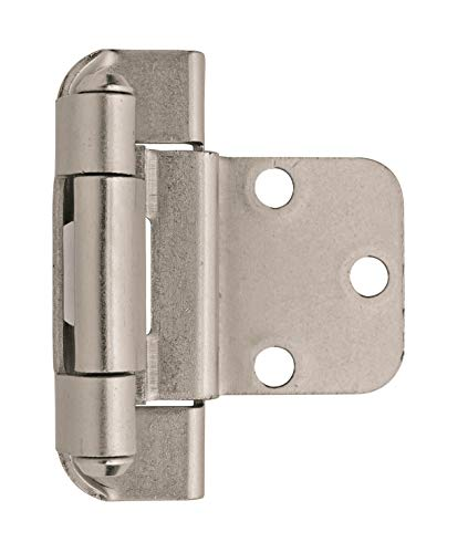 (Amerock BPR7565G10 3/8in (10 mm) Inset Self-Closing, Partial Wrap Satin Nickel Hinge - 2 Pack )