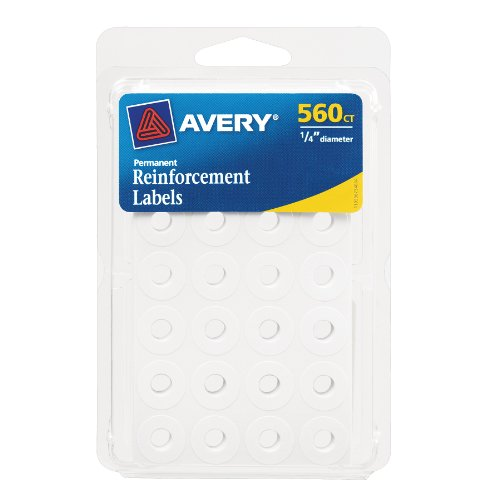 Avery Self-Adhesive Reinforcement Labels, 0.25 Inches, Round, White, Pack of 560 (6734) ()