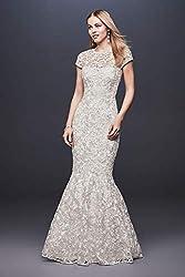 High-Neck Metallic Lace Mermaid Wedding Dress Style 261032