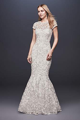 High-Neck Metallic Lace Mermaid Wedding Dress Style 261032, Ivory, 12
