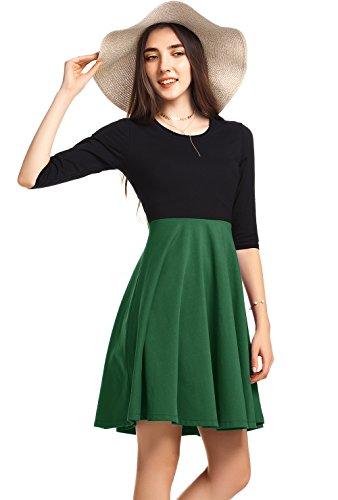 Amoretu Skater Dress, Women 3/4 Sleeve Casual Round Neck Midi Dresses by (Army Green, (Plus Size Army Fancy Dress)