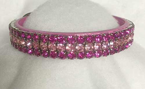 Sugarlicious Pets Rose Bud Pink Petals~ Crystal Diamante Rhinestone Dog Pet Collar WIDE with LARGE Stones USA (1XL)