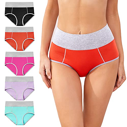 cassney Womens Underwear,High Waisted C Section Cotton Panties,Full Coverage Ladies Panties (Multicolor, s)