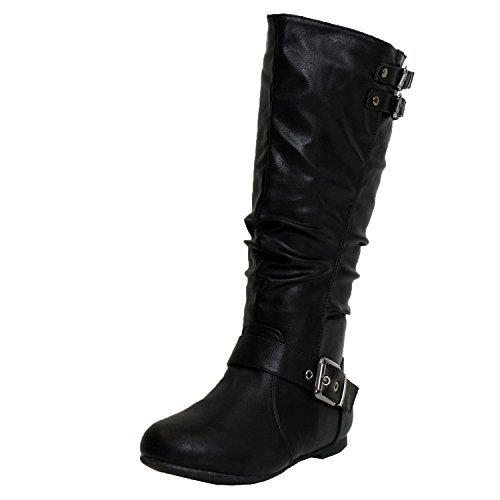 TOP Moda Night-76 Women's Slouched Under Knee High Flat Boots, Black, 7.5