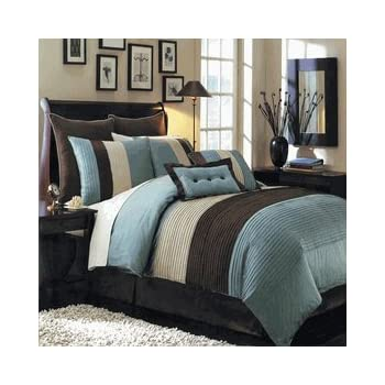 this item 8pc full sizedouble bed blue hudson comforter set by