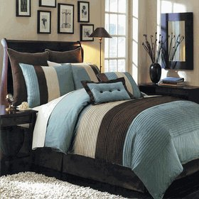 Superb 8pc Full Size(Double Bed) Blue Hudson Comforter Set By Sheetsnthings