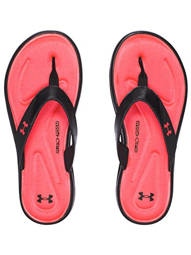 Under Armour Women's Marbella V Thong, Black/Sirens Coral, 9 B(M) US