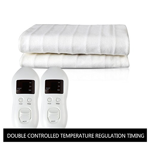 Heated Mattress Pad, Electric Heating Bed Toppers with EasySet Control and Timer, Fast Heating Technology, Ultra-Fresh Anti-Bacteria Extra Comfort, White (King)