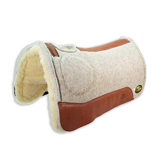 Southwestern Equine OrthoRide Elite Saddle Pad Premium Tan Topper with Fleece Bottom 1 inch (31 x 30, Natural Leathers)