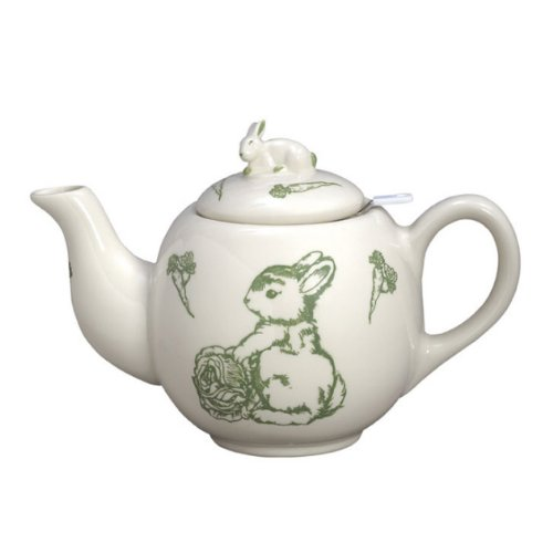 "J Willfred 7""h Round Teapot With Strainer Bunny Toile"