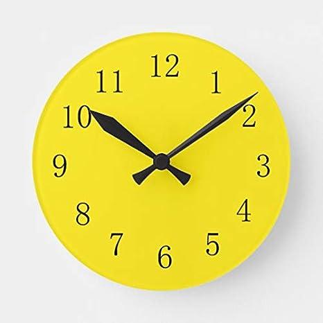 Amazon Com Tattyakoushi 15 By 15 Inch Wall Clock Bright Lemon Yellow Kitchen Wall Clock Living Room Clock Home Decor Clock Home Kitchen