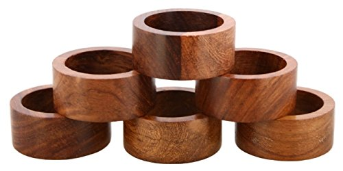 Shalinindia Handmade Wood Napkin Ring Set With 6 Napkin Rings - Artisan Crafted in India
