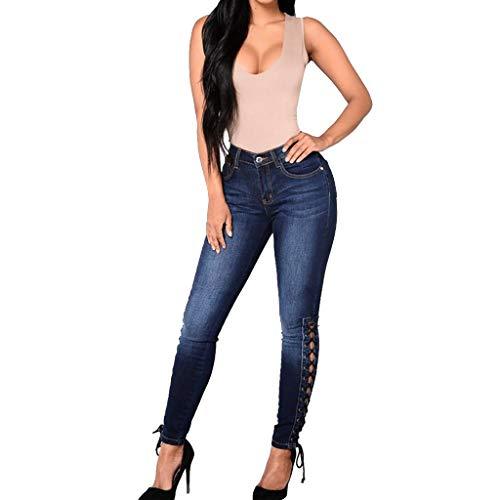 iNoDoZ Women's Classic High Waist Stretch Jeans Female Slim Sexy Pencil Pants Navy