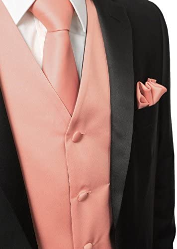 3 Pcs Vest Hankie Peach Fashion Mens Formal Dress Suit Waistcoat Tie