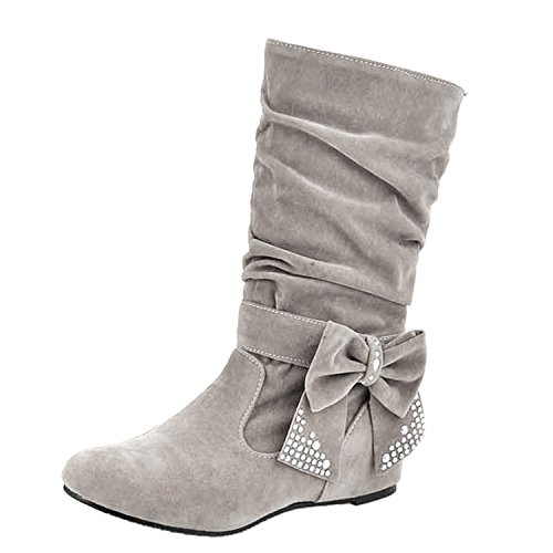 Nonbrand Ladies Large size internal wedge boots slip on velvet bow shoes Grey