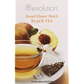 Revolution Tea Sweet Ginger Peach Black Tea, 20 Count, 1.56 OZ 17 Flavor-packed, original tea made from fine Ceylon and Assam teas, fresh peach flavoring and ginger root Antioxidant rich tea
