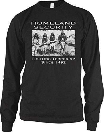 Spirit Fighting T-shirt (Amdesco Men's Native American Homeland Security Since 1492 Long Sleeve Shirt, Black 2XL)