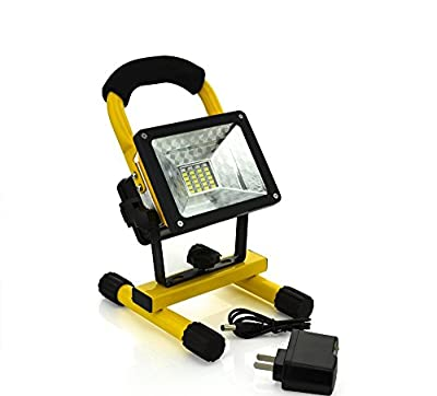 WindFire® Portable Rechargeable Cordless 24 LEDs (20 White + 2 Blue +2 RED) 4 Modes 30W 2400LM CREE XM-L LED RGB Work Light Flood Light - Durable Waterproof Emergency Light w/ 360 Degree Rotating Stand 1/2/3 X 18650 Battery Powered IP65 Weather Resistant