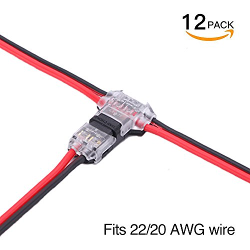 Wire Connectors - Pack of 12 low voltage wire T tap connectors T type 2 Pin solderless with no wire-stripping required for Mid-span Branching in Wires Connection 20/22 AWG Cable By brightfour (Wire Connectors Pin)