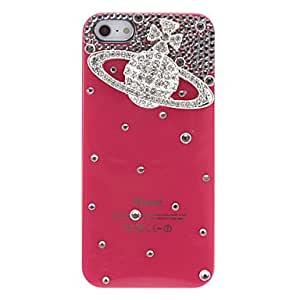 Fashionable Luxury Design Siliver Saturn Pattern with Diamond Rose Hard Case for iPhone 5/5S Phone cases